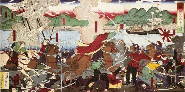 「箱館大戦争之図」永嶌孟斎画